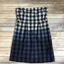 Gap Womens 18 Strapless Dress Blue Gingham Check Print Ombre Linen Blend B66
