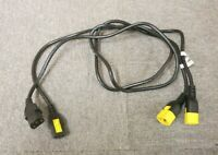 Job Lot 2 x APC AP8704S-WW Locking Power Cable C13 To C14 Black Yellow 1.2M 4FT