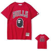 Mens A Bathing Bape Ape Monkey Head T-Shirt Red Round Neck Short Sleeve Tee Tops