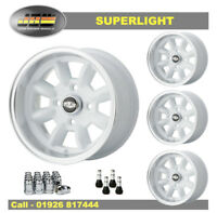 7x 13 Superlight Wheels Classic Ford Set of 4 White