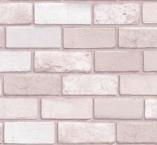 ARTHOUSE REALISTIC DIAMOND PINK BRICK WALL TEXTURED VINYL WALLPAPER 260005