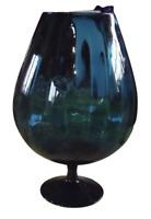 Ancien Grand Verre Vase Bleu nuit 31 cm 1970 deco vintage cruche pot pichet
