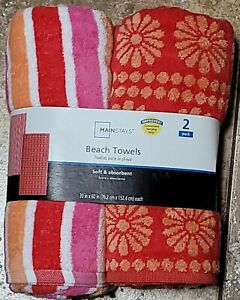 """Mainstays Pink Beach Towels 2 Pack 30""""x60"""" New  *9"""