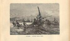 Stampa antica LAVAGNA pescatori nella rada Genova Calame 1885 Antique print