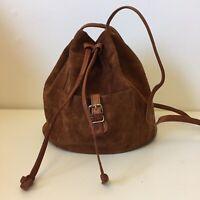 Vintage 1970s Brown Suede Leather Drawstring Shoulder Bag Handbag
