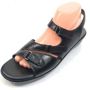 SAS Womens 10.5 S Slim Extra Narrow Black Leather Sandals Strappy