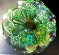ANTIQUE VINTAGE GREEN CRYSTAL FRUIT BOWL EXCELLENT CONDITION BEAUTIFUL