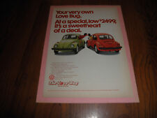 "Vintage VOLKSWAGEN LOVE BUG AD FROM 1974-""Sweetheart of a Deal"""
