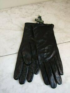 NWT Lauren Ralph Lauren Whipstitched Points Touchscreen Black Leather Gloves S