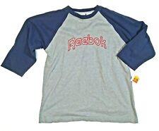 M Size Medium Mens Shirt Reebok 3/4 Sleeve Gray Blue Cotton