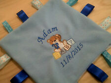 personalized with your childs name teddy bear  boy or girl  taggie blankets