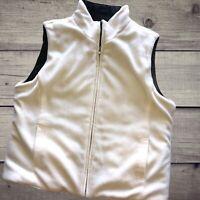Izod Womens Reversible Vest Black and White Fleece Softshell Size Large ZIP Up