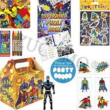 Childrens riempito PARTY CIBO scatole Ragazzi Ragazze Supereroe Festa Borse & Stucchi