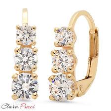 2.5 CT 3 Stone RD Cut Sim Diamond Earrings Yellow Sterling Past Present Future