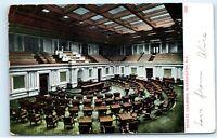 Washington DC Senate Chamber Postmarked 1907 Old Antique Vintage Postcard D59