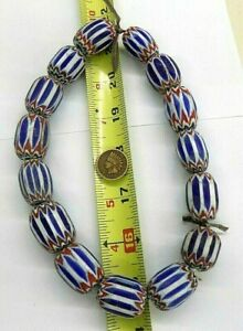 Strand of { 15 } XL Large Chevron African Trade Beads   VN
