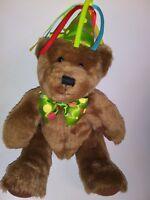 "Pro Flowers Brown Party Hat Bear   13"" Plush Stuffed Animal"