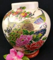 "Vintage Vase Jar Peacock Japan Foil sticker 4 1/2"" w/ Gold Accent DIY Lamp Part"