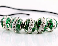 5 Pcs SILVER MURANO GLASS BEADS LAMPWORK Fit European Charm Bracelet Jewelry NEW