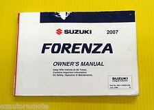 Forenza Sedan Wagon 07 2007 Suzuki Owners Owner's Manual All Models & Engines