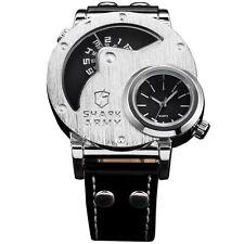 Shark Army Oversized Dual Time Zone Analog Black Men Quartz Wrist Sport Watch