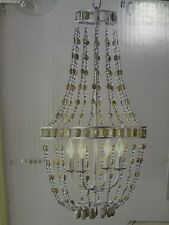 """*NEW* """"HOME STYLE SELECTION"""" BRUSHED NICKEL GREEN JADE BEADS 4 LIGHTS CHANDELIER"""