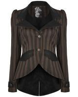 Punk Rave Womens Steampunk Jacket Brown Black Stripe Tailcoat Gothic Victorian