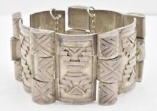 design Wide Ladies Bracelet 108g Vintage Victoria Sterling Silver Aztec