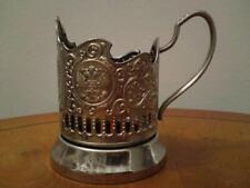Stainless Steel Nickel Plated Russian Tea Glass Holder With Russian Crest