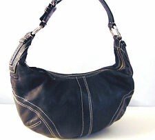 COACH Black Leather 11x7 Demi Shoulder HANDBAG Purse Buckle Strap Zip Hobo EVC!