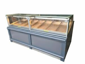 Nuttall Commercial Heated Display, 7 Tray Hot Case Square Glass Serve Over