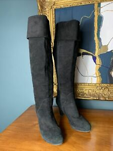 Duo Size 39 UK 6 Slim Calf Black Over Knee High Boots Suede Leather Heels
