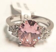 Cubic Zirconia Ring Size 8- New Rhodium Plated Sterling Silver Pink & White