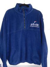 Mens Large Blue Harvard Square Fleece 1/4 Zip Pullover Jacket Sweater GFAK Logo