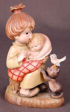 "ANRI Italian wood carving-Mother Baby Squirl Bluebird-6"" Tall-"