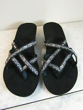 Teva Strappy Black/White Designed Wedge Flip Flop Sandal Shoes Women's Size 7 M