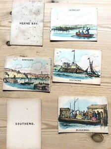 Collection 6 Early Victorian Sea side Coloured Playing Cards