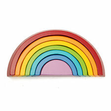 Educational Toy 7 Colors Wooden Stacking Rainbow Shape Child Kids Christmas Gift