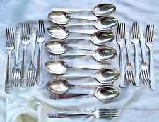 Eames Era silver plate flatware stamped 85G 11 soup spoons and 11 forks 22 piece