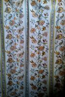Sears Jacobean Floral Print Queen Flat Sheet Percale Gold Blue Rust Vintage