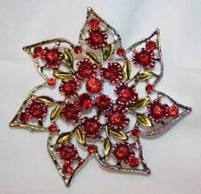 Flower Silvertone Brooch Pin Lacy Openwork Red Mauve Rhinestone