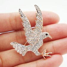 Clear Bird Gold-tone Brooch Pin Charming Crystal Eagle Art Nouveau