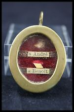 † 19TH ST ANDREW APOSTLE + ST BENEDICT BRONZE VHM RELIQUARY 2 RELICS SEAL FRANCE
