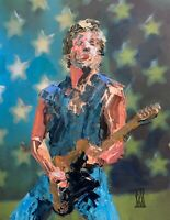 """Original Abstract Bruce Springsteen Palette Knife Portrait Wall Art Painting 14"""""""