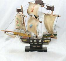 Vintage Santa Maria Columbus 1492 Model Ship Wood Replica