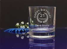 Personalised 21st Birthday engraved whiskey glass present gift42
