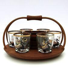 Vintage Retro Mid Century Set 6 Shot Glasses Stag Deer Wooden Holder Coasters