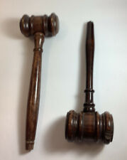 2 VINTAGE WOODEN GAVELS-JUDGES LAWYERS AUCTIONEERS