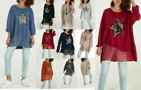 New Ladies Lagenlook Sequin Star Layer Loose tunic top size 16,18,20,22,24,26