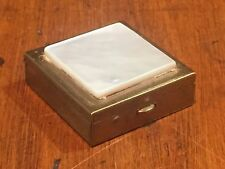 Vintage Brass Pill Box with Mother of Pearl Lid